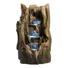 "22"" Cypress Log Indoor/Outdoor Water Feature w/LED Lights"