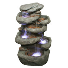 "32"" Tower Rock  Fountain w/LED Lights"