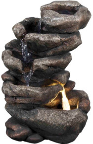 "11"" Mountain Spring Rock Waterfall Fountain w/LED Light"