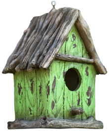 "The Little Green House - 9"" Cottage Birdhouse"