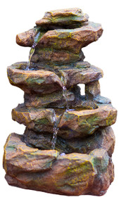 "16"" Emerald Pools 4-Tier Waterfall Rock Fountain w/LED Lights"