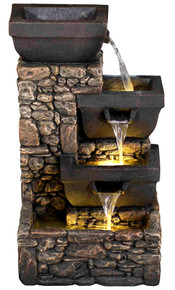 "20"" Catania 4-Tier Cascading Waterfall Fountain w/LED Lights"