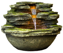 "18"" Multnomah Waterfall Rock Fountain w/LED Lights"