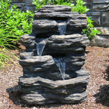"24"" Rock Waterfall Fountain w/LED Lights"