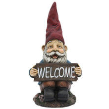 Garden Gnome & Welcome Sign