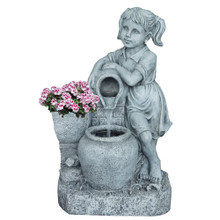 Girl w/Water Jug Fountain & Flower Planter