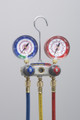 """TITAN™ 2-Valve Test and Charging Manifold With 60"""" PLUS II SealRight RYB, R/B gauges, psi, R134a/404A/407C,  F"""