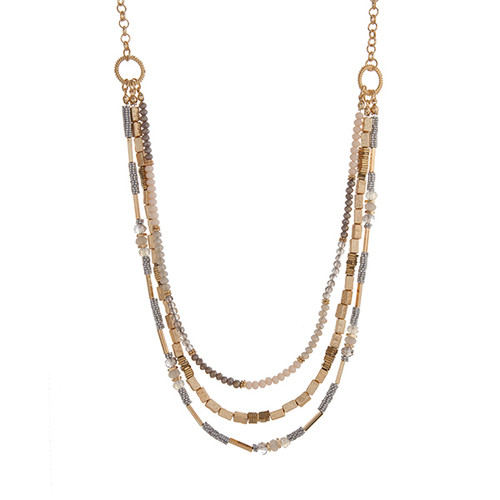 "Gold tone layering necklace displaying gray, ivory, and metal beads. Approximately 31"" in length."