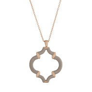 "29"" Gold tone necklace with a gray thread wrapped quatrefoil pendant."