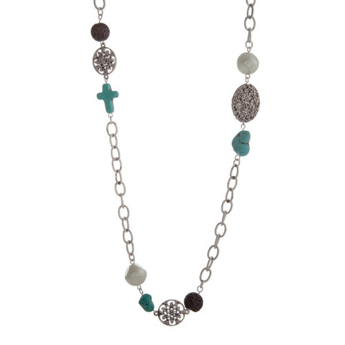 """Burnished silver tone necklace with decorative disk, faux ivory pearls, brown lava beads, and a turquoise cross and stones. Approximately 33"""" in length."""