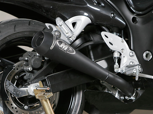 "2008-2017 Hayabusa ""Retro Drag"" Slip On System with TWIN BLACK Mufflers"