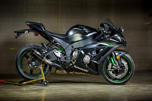 2016-2017 KAW ZX10R Tech 1 Style Carbon Slip On (Retains Stock Catalytic Converter)