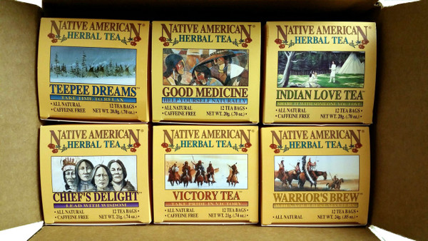 Native American Tea Company Sampler Pack 1.  24 teabags each of Teepee Dreams, Good Medicine, Indian Love Tea, Chief's Delight, Warrior's Brew, and Victory Tea.