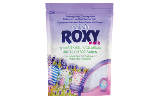 Roxy Matic naturally and gently cleans delicate garments, baby clothes and drapery, without damaging the fine surface of fabrics due to its special 100% vegetable-soap based formula. Combining fresh spring flower fragrance with 100% natural, extra-softening granules, Roxy Matik permeates your clothes with a natural softness and leaves your clothes smelling beautiful for long time.