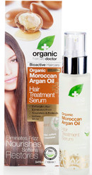 Produced with our finest Moroccan Argan Oil, this sumptuous but light hair treatment is instantly absorbed by the hair and results in a silky smooth finish with brilliant shine.  Formulated with a blend of naturally derived ingredients such as Organic Argan Oil, Orange Fruit Extract, Clove Oil, Geranium Oil, Lemon Peel Oil, Patchouli Oil, Cinnamon Leaf Oil, Rosewood Oil, Wild Mint Oil, Mandarin Peel Oil, Vanilla Fruit Extract, Spearmint Oil, Kukui Seed Oil, Moringa Seed Oil, Sacha Inch Seed Oil.  Organic Moroccan Argan Oil is an incredibly rich source of vitamins, antioxidants and essential fatty acids. The natural properties of this amazing oil are combined with a number of organic essential oils and fruit extracts to create a fragrant, rich and absorbent hair treatment serum. With the heavenly scent of Patchouli, Cinnamon and Rosewood and the combination of African organic extracts including Kukui, Moringa and Sacha Inch Seed Oils, this ultra light bioactive formulation is quickly absorbed by the hair leaving it silky smooth, shiny and beautifully conditioned.  DETANGLES HAIR - ELIMINATES FRIZZ - NOURISHES & PROTECTS - INSTANT SHINE Directions:  After shampooing and conditioning use a small amount in the palm of the hand and massage it through towel dry hair, style as desired. For best results use Dr. Organic Moroccan Argan Oil Shampoo and Conditioner. Natural Protection: To control frizz and pro Ingredients:  Cyclopentasiloxane, Dimethiconol, Alcohol denat, Argania spinosa (Argan) oil, Citrus aurantium dulcis, Eugenia caryophyllus (Clove) leaf oil, Pelargonium graveolens (Geranium) oil, Citrus lemon peel oil, Pogostemon cablin (Patchouli) oil, Cinnamomum zeyla