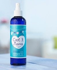 """Cool it Mama"" face and body spritz provides a beautiful fresh blend of Ylang Ylang, Bergamot and Grapefruit pure essential oils in an Orange Blossom floral water.  With a hint of menthol bringing an icy touch to the skin this spritz can be used all over to uplift, refresh, cool and revive whilst the light floral scent proves perfect for delicate noses. Cool it Mama can be used throughout pregnancy, labour and by new mums and it ideal for nausea, tiredness, swollen legs, ""baby blues"" and cooling hot and bothered ""mamas""."