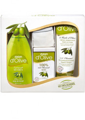d'Olive Set (250ml Hand&body Cream+400ml Liquid Soap+150g Soap Bar)