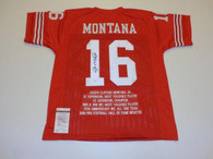 Joe Montana San Francisco 49ers Autographed NFL Career Stats Football Jersey