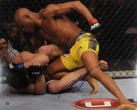 Anderson Silva Autographed UFC Throwing Punches 16x20 photo