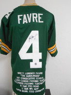 Brett Favre Green Bay Packers Autographed Career Stat Jersey