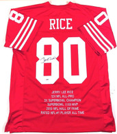 Jerry Rice San Francisco 49ers Autographed Custom Career Stats Football Jersey