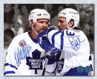 Doug Gilmour Wendel Clark Toronto Maple Leafs Dual Signed 8x10 Photo