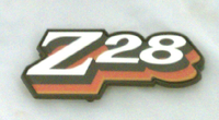 1978 CAMARO Z28 FUEL DOOR EMBLEM 3 COLOR RED ORANGE