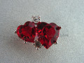 Double Red Heart Tac Pin Brooch