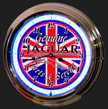 Jaguar Parts & Service Neon Clock