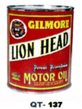 Gilmore Lions Head Motor Oil Cans - Quantity Of Six Cans