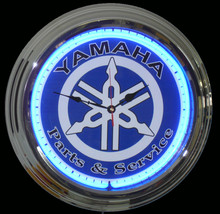 Yamaha Parts & Service Blue Face Neon Clock