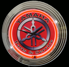 Yamaha Parts & Service Red Face Neon Clock