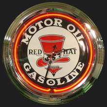 Red Hat Gasoline Neon Clock