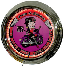 Betty Boop Biker Parts & Service Neon Clock