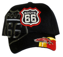 Route 66 Black With Corvette Embroidered Cap