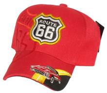 Route 66 Red With Corvette Embroidered Cap