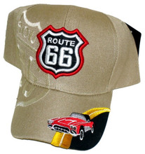 Route 66 Tan With Corvette Embroidered Cap
