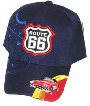 Route 66 Blue With Corvette Embroidered Cap