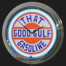"""Gulf """"That Good Gulf"""" Gasoline Neon Clock"""