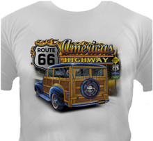 America's Highway Route 66 Hot Rod T-Shirt