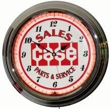 Case Tractor Parts & Service Neon Clock