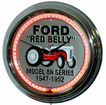 Ford Red Belly Tractor Neon Clock
