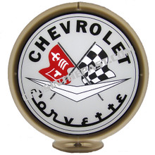 Corvette Logo Grey Face Gas Pump Globe