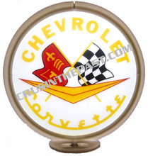 Corvette Logo White Face Gas Pump Globe