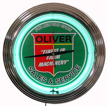 Oliver Tractor Neon Clock