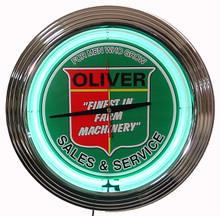 Oliver Tractor Neon Clock