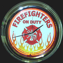 Firefighters On Duty Neon Clock
