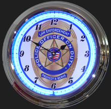 Police Officers On Duty Neon Clock