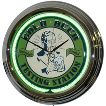 Cold Beer Filling Station Neon Clock