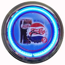 "Pepsi Cola ""Glass & Bottle Cap"" Neon Clock"